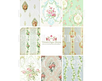 Digital ATC Backgrounds, Antique Wallpaper,  Tags, Vintage Florals, Floral Wallpaper Digital Sheet