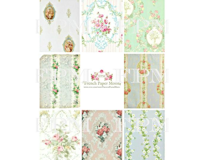 Digital Victorian Wallpaper Scraps, ATC Antique Wallpaper, Digital Wallpaper Florals, Instant Download
