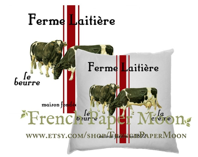 Digital Cows, French Dairy, French Farmhouse Printable, Grain-Sack Stripes, Instant Download Graphic Transfer Image