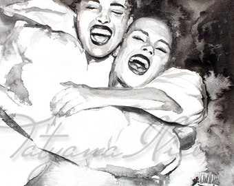 Original Watercolor Painting. Portrait painting of a beautiful  young Girls .The Greatest. Black and white. Portrait of friends having fun.