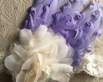 Baby Headband - Cream and Lavender