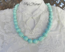 Vintage Chunky Molded Pastel Teal Bead Necklace/Lucite Bead 1960's Necklace