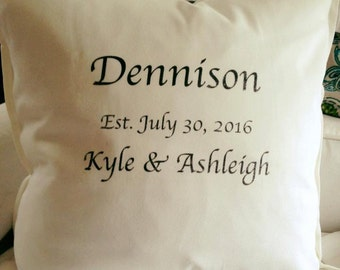 Personalized Wedding Name & Date Pillow
