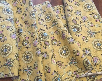 Barkcloth Upholstery Fabric, Vintage Decorating Yellow Maize/Golden Ornamental Floral Print Mid Century Cotton, 12 yards available