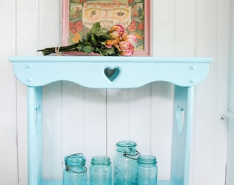Vintage Cottage Chic Side Entry Table with in Aqua Blue with Heart Cut-Out Design ~ Shabby Country Style