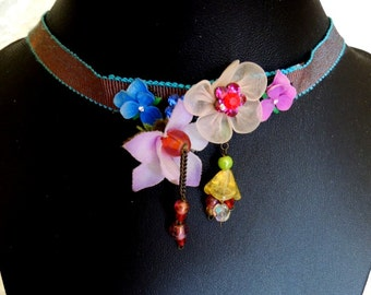 Les Nereides Paris Ribbon Choker with Flowers and Beads - Delicate, Beautiful and Very Rare