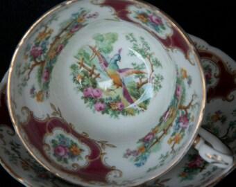 EB Foley Broadway Burgundy Chelsea Bird Tea Cup & Saucer
