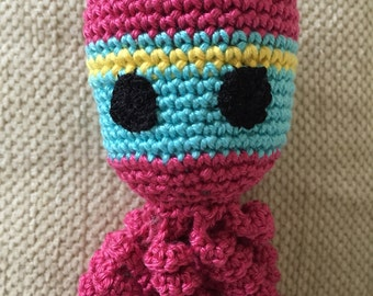 Crochet octopus toy dark pink and turquoise 7""