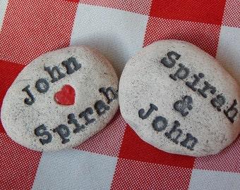 Personalized Message Stones, Wedding Couple, Handmade Ceramic Rocks