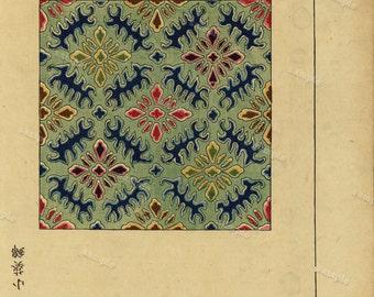 19th century Japanese wood block Print Meiji Period wall art- art decor-home decor decorative art -Flower Pattern