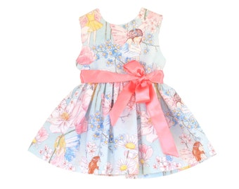 Baby Girls Toddler Dress Blue Pink Vintage Fairy print sizes 3 months to 4 years