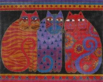 Needlepoint Handpainted Canvas Laurel Burch FELINE Friends 13x12 -Free US Shipping!!!