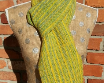 Scarf, Handwoven Scarf, Yellow, Blue, Green