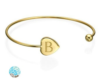 Engraved Bangle in 18K Gold Plated over Sterling Silver 0.925 Adjustable - Personalized