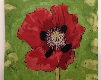 Red Poppy - Hand Painted Batik F1