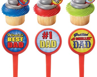 Best father cupcakes deco picks, best dad party picks, best father cake toppers party picks, dad cake toppers, happy fathers day celebration