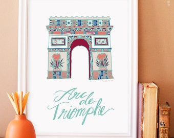 Arc de Triomphe Illustration No.1  arc de triomphe art print. french wall art. apartment decor. paris art print. nursery art print.
