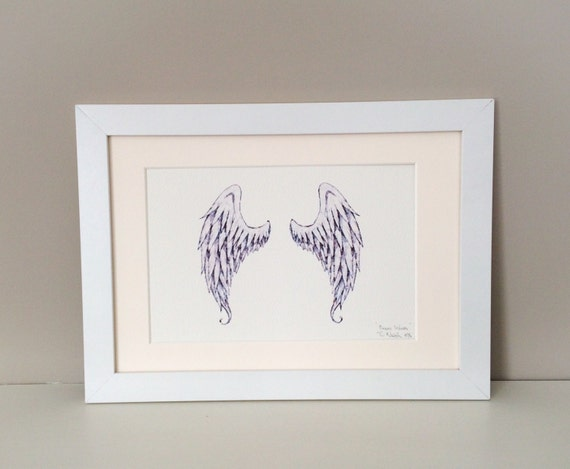 Angel wings art print angel wings wall art ink drawing for Angel wings wall decoration uk