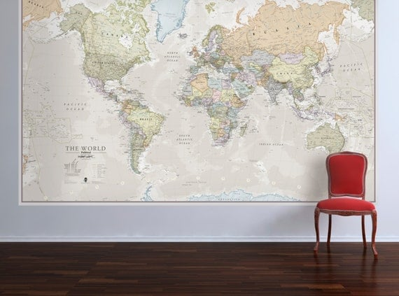 Huge classic world map vintage elegant home decor home like this item gumiabroncs Gallery