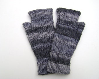 Striped Grey Handwarmers. Fingerless Gloves. Fingerless Mittens. Hand Knit.