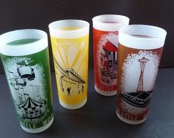 Four VINTAGE Commemorative Glasses for the 1962 Seattle World's Fair