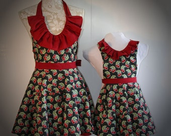 Mother and Daughter Cherry Apron Set, Matching Dress