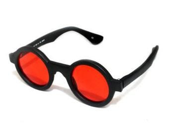 Hi Tek Alexander round sunglasses black frame red lens Goth Steampunk style unususal HT-005