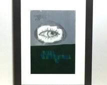 Eye Eye framed paint and pencil original art