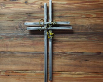 Hand Crafted Metal Love Wall Cross