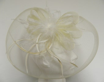 Vintage inspired ivory tulle feather fascinator