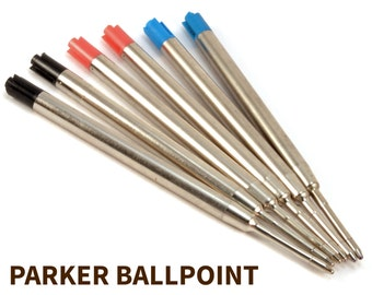 Parker Ballpoint Refill - Black, Blue, or Red - Compatible with Ballpoint Pens Inc: Cigar, Bolt Action, Gatsby, Sierra, and Other's