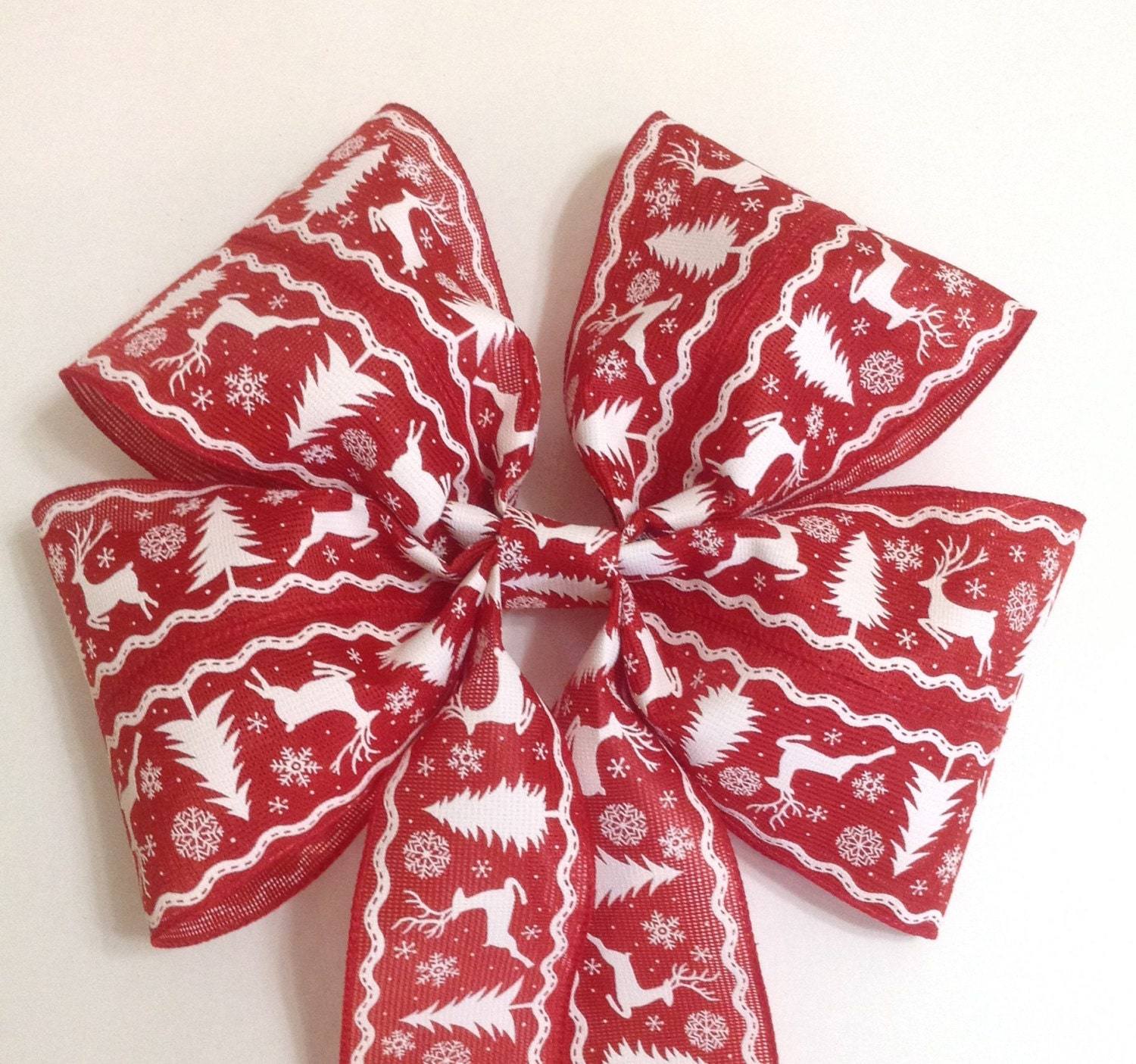 Burlap And Red Christmas Tree: Red Burlap Tree Topper Bow Christmas Tree By BasketsFromAtoZ