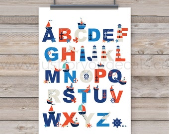 Nautical Alphabet Poster - Nautical Nursery Wall Art - Nautical Poster - Alphabet Wall Art - Alphabet Nursery Art - Nursery Art - 22-1026