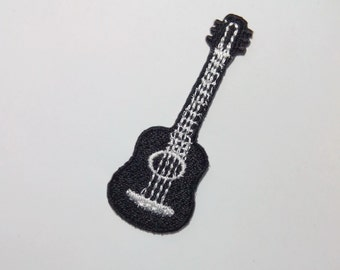 Embroidered Black and White Small Guitar Iron on Patch Applique