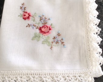 Embroidered handkerchief  with crochet edge Red rose with blue flowers