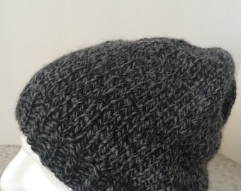 Hand Knit Hat for Men, Alpaca/Wool/Acrylic Blend