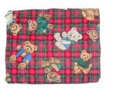 Quilted Baby Blanket, Stroller Blanket, Teddy Bear Blanket, Plaid Blanket, Pet Blanket, Small Blanket, Lap Blanket