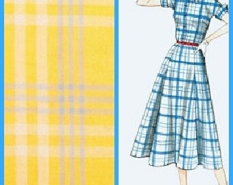 Retro-Vintage Style Dress-  Yellow Plaid - Cotton Print Dress- Custom Made-Made-To-Measure-You Choose The Fabric