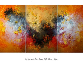 Large Abstract Painting by Alex Senchenko. 3 in 1 . Contemporary ART. Modern, original, wall art.   100% Hand-Made.  LOOKS STUNNINGLY.