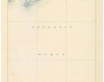 Sakonnet 1890 USGS Old Topo Map Little Compton Reprint Topographic Massachusetts Quad