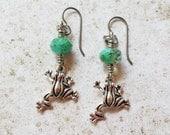 Tree Frog Earrings, Amphibian Earrings, Animal Charm Jewelry, Hypoallergenic Niobium Earrings
