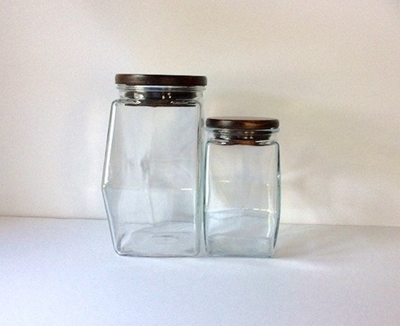 set of hexagon glass jars with wood lids canisters. Black Bedroom Furniture Sets. Home Design Ideas