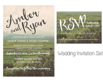 Simple Rustic wedding invitation. Country wedding. Simple and unique wedding invitation. Printable JPG or PDF file.