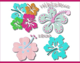 Embroidery file 18 x 30 Hibiscus flowers flowers
