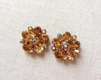 Swarovski Light Colorado Topaz rhinestone cluster earrings, bridal, bridesmaid, jewelry, earring, Swarovski, rhinestone, clip, post, gold