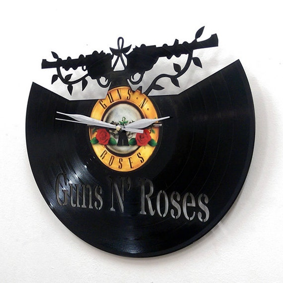 Guns n 39 roses wall art vinyl clock or framed vinyl record for Vinyl record wall art