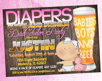 Diapers, Dudes and Drinks Diaper Shower Invitation - for Boy or Girl