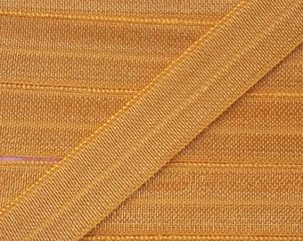 5/8 GOLD Fold Over Elastic 5 or 10 Yards