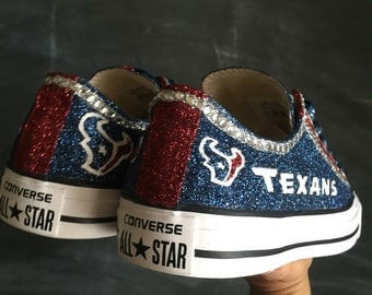Houston Texan Steel Blue and Battle Red Custom Converse