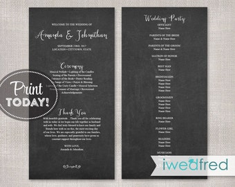 Wedding Programs, Wedding Program Printable, Wedding Program Template, Program Instant Download, Program PDF, Chalkboard Program, #WED101